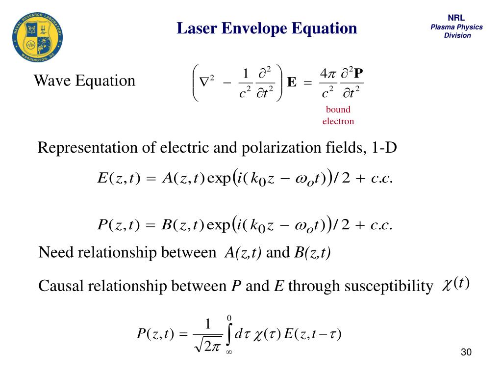 Laser Envelope Equation