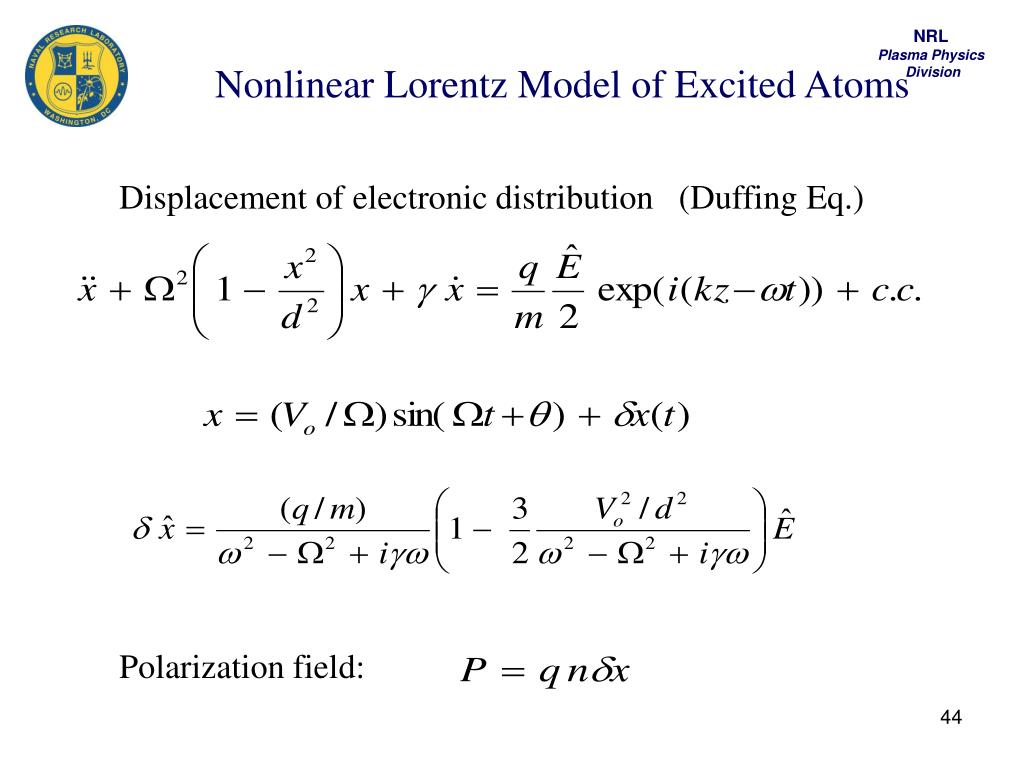 Nonlinear Lorentz Model of Excited Atoms
