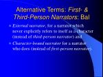 alternative terms first third person narrators bal