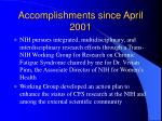 accomplishments since april 2001
