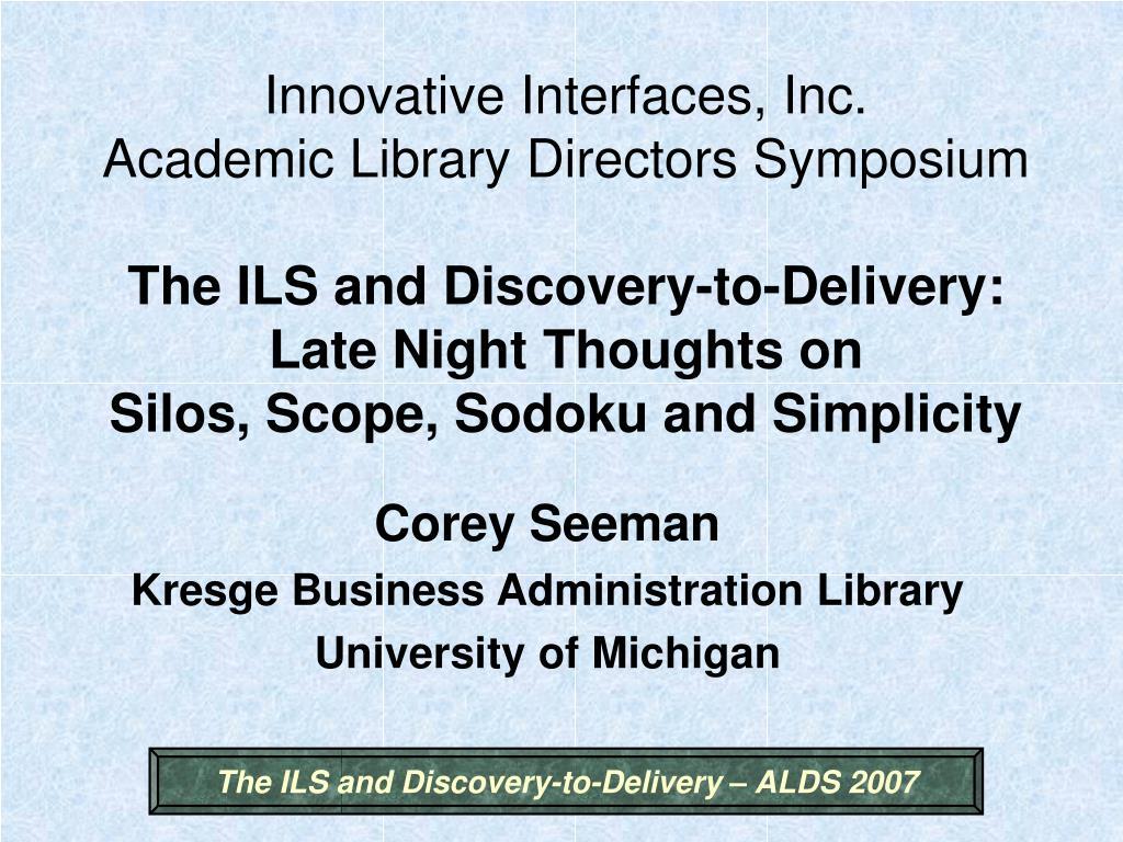 corey seeman kresge business administration library university of michigan l.