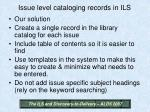 issue level cataloging records in ils27