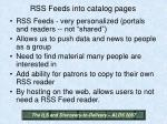 rss feeds into catalog pages