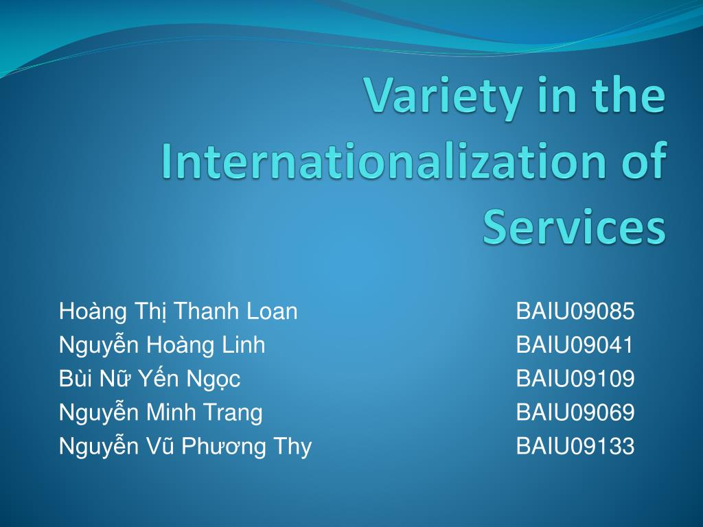 Variety in the Internationalization of Services