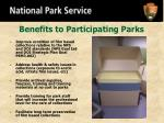 benefits to participating parks