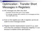 optimization transfer short messages in registers