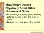 fiscal policy doesn t negatively affect other government goals