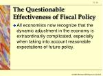 the questionable effectiveness of fiscal policy26