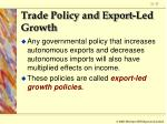 trade policy and export led growth