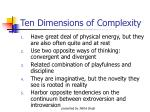 ten dimensions of complexity
