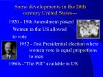some developments in the 20th century united states
