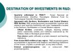 destination of investments in r d