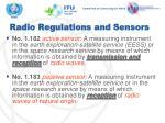radio regulations and sensors
