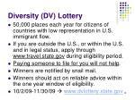 diversity dv lottery