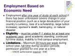 employment based on economic need