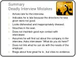 summary deadly interview mistakes