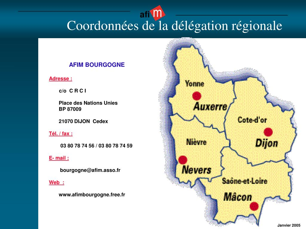 Coordonnées de la délégation régionale