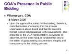 coa s presence in public bidding