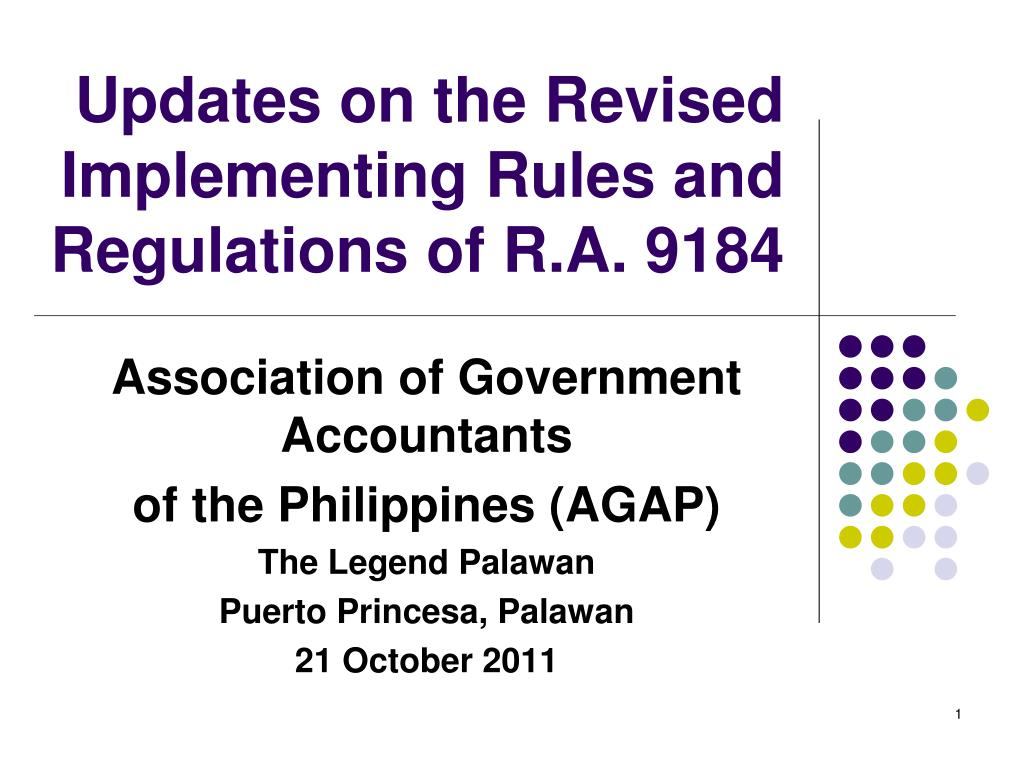 updates on the revised implementing rules and regulations of r a 9184 l.