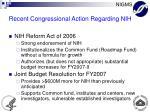 recent congressional action regarding nih