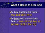 what it means to fear god