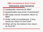 sba investment pool crisis unknowns and concerns