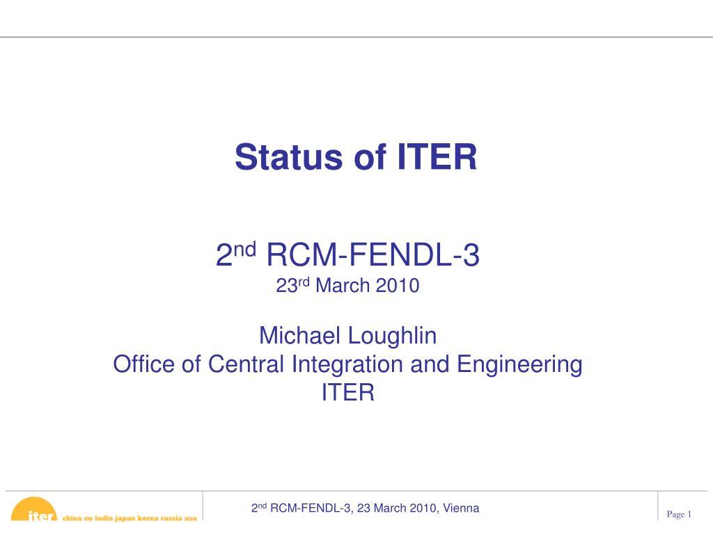status of iter l.
