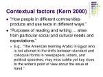 contextual factors kern 2000