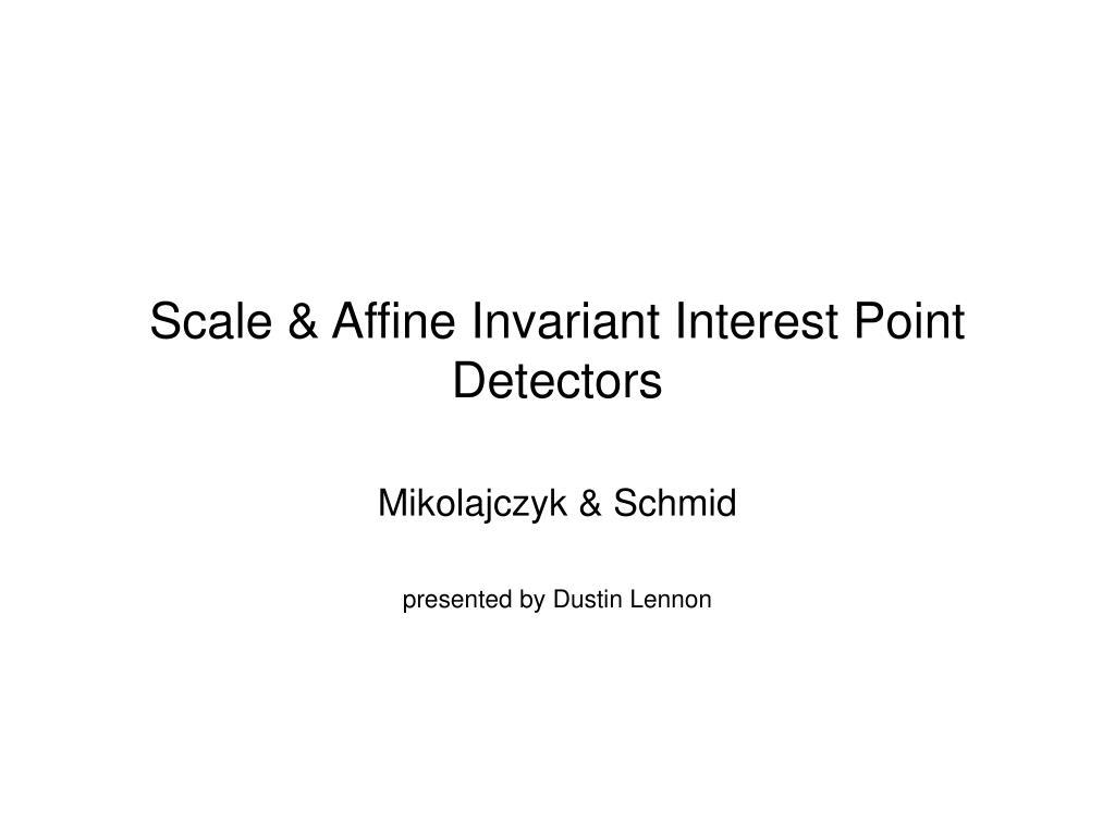 scale affine invariant interest point detectors l.