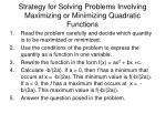 strategy for solving problems involving maximizing or minimizing quadratic functions
