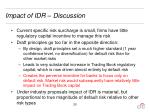 impact of idr discussion