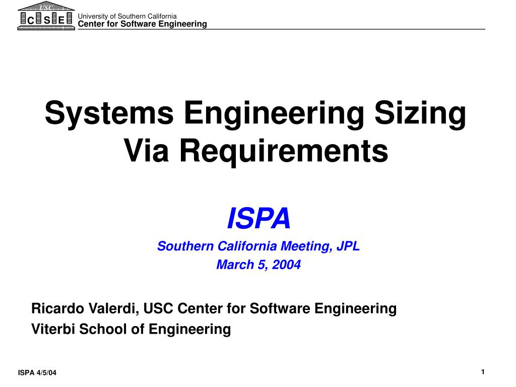 systems engineering sizing via requirements l.