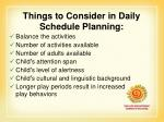 things to consider in daily schedule planning