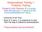 automorphism testing primality testing
