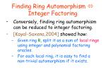 finding ring automorphism integer factoring3