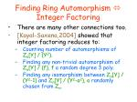 finding ring automorphism integer factoring4