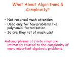 what about algorithms complexity
