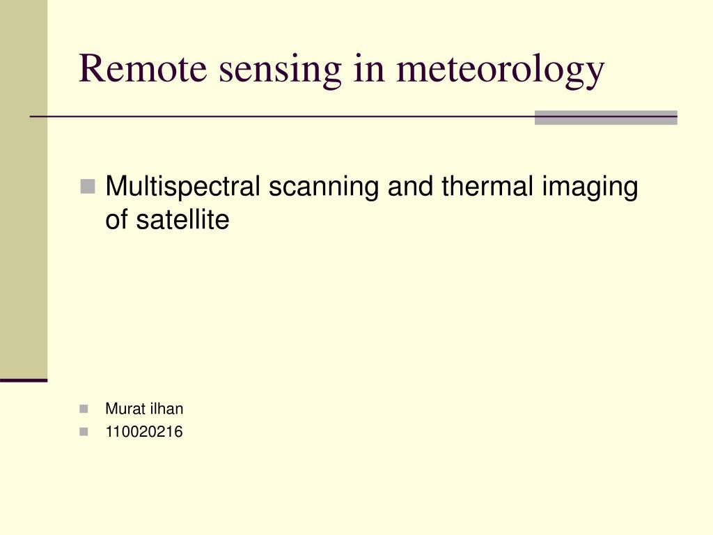 remote sensing in meteorology l.
