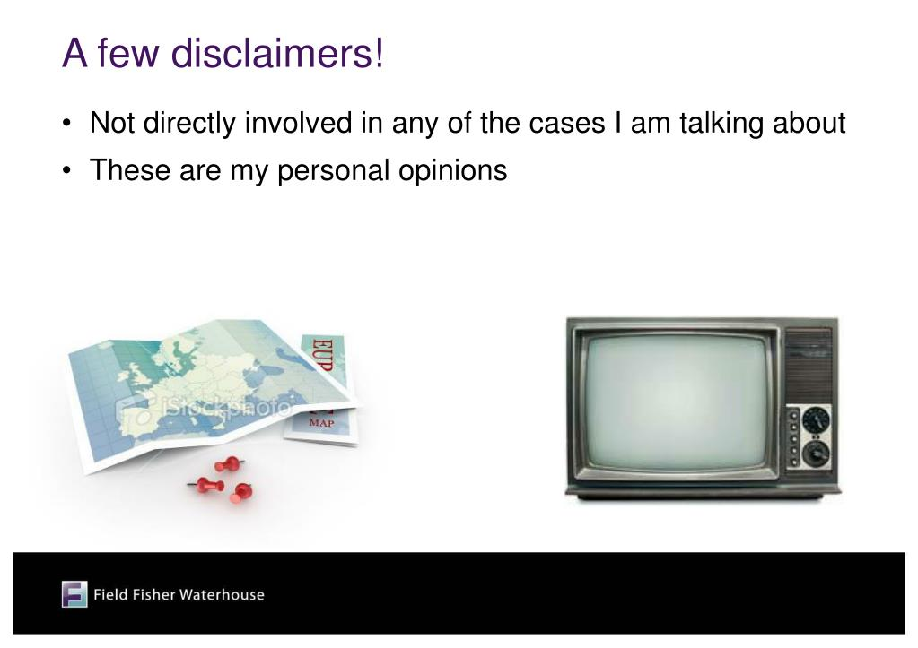 A few disclaimers!