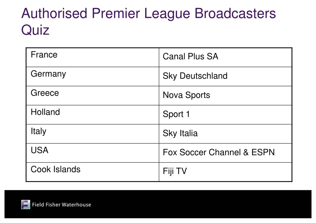 Authorised Premier League Broadcasters Quiz