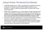 listing of events the general court decision