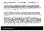 listing of events the general court decision19