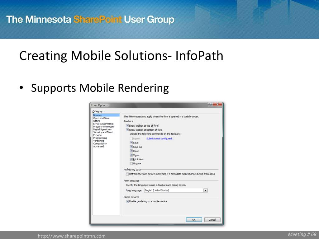 Creating Mobile Solutions- InfoPath