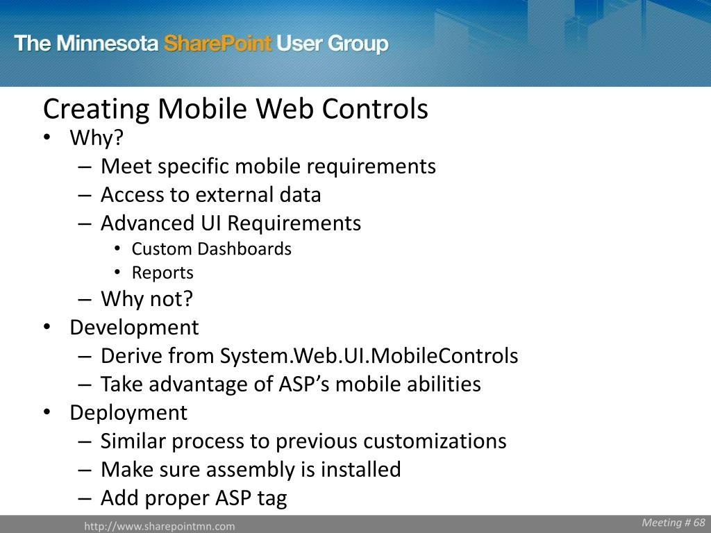 Creating Mobile Web Controls