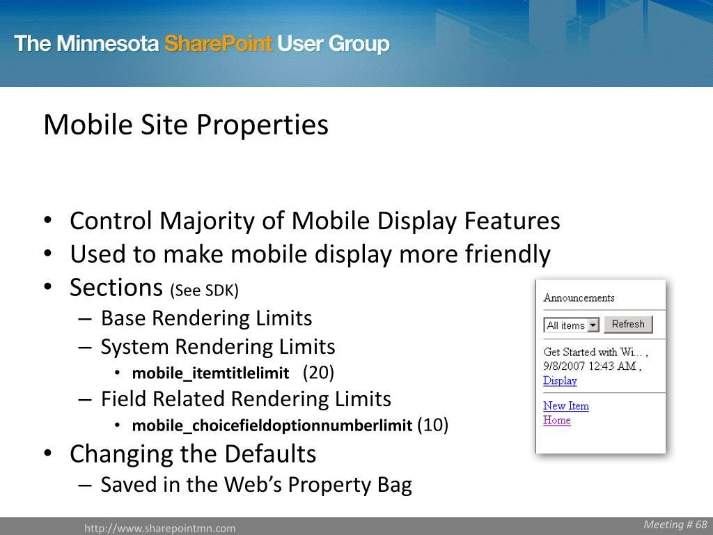 Mobile Site Properties