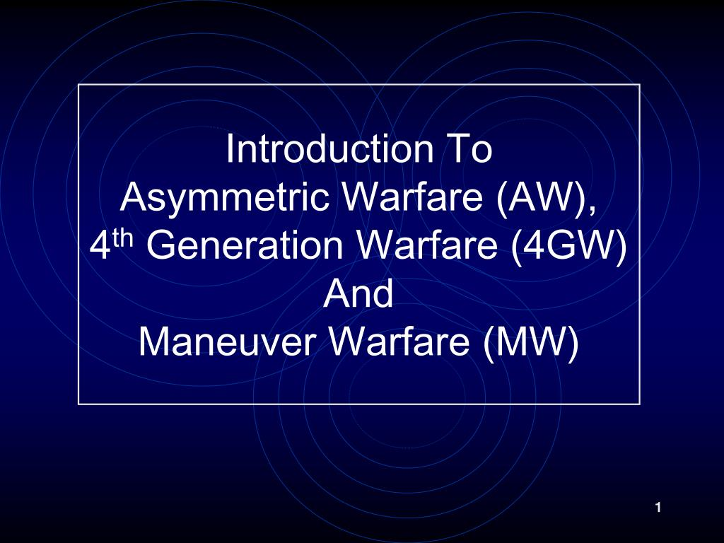 PPT - Introduction To Asymmetric Warfare (AW), 4 th Generation ...