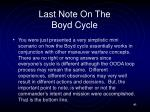 last note on the boyd cycle