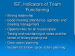 isf indicators of team functioning