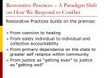 restorative practices a paradigm shift on how we respond to conflict
