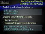declaring and creating multidimensional arrays